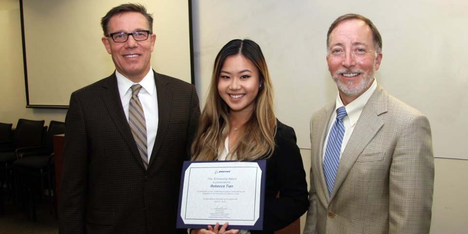 Rebecca Tian is a proud recipient of a scholarship from The Boeing company. (From left: Eric Spangenberg, Dean, Merage School of Business, Rebecca Tian, Daryl Pelc, Boeing)
